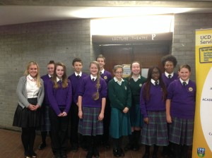 Le Cheile Secondary School students with students from Holy Child Killiney at the debating competition at UCD